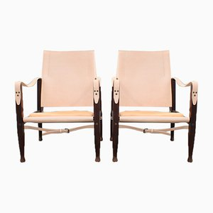 Danish Leather Safari Chairs by Kaare Klint, 1960s, Set of 2
