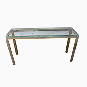 Minimalist Brass and Chrome Console Table by Romeo Rega, 1970s