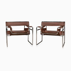 Chrome Plated & Leather Wassily Chairs by Marcel Breuer for Knoll, 1980s, Set of 2