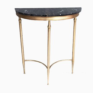 Demilune Brass Console Table with Black Portoro Marble Top, 1950s