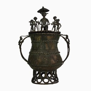 Cast Bronze Lidded Gold Pot from Ashanti Tribe