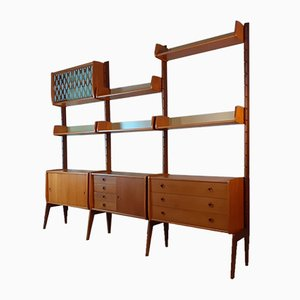 Ergo Teak Wall Unit with 3 Sections by John Texmon for Blindheim Møbelfabrikk, 1960s