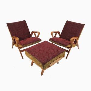 Fauteuils et Repose-Pieds par Francis Jirák pour Tatra Furniture, 1960s, Set de 3