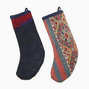 Handmade Striped Christmas Stockings, Set of 2