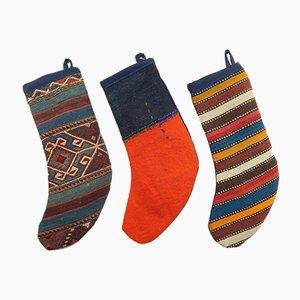 Turkish Kilim Christmas Stockings, Set of 3