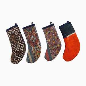 Turkish Kilim Christmas Stockings, Set of 4