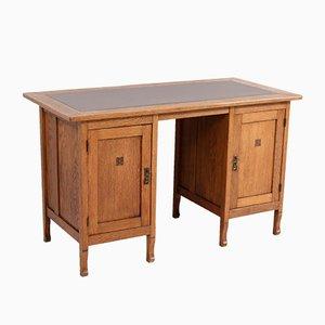 Oak Art Nouveau Arts & Crafts Pedestal Desk, 1900s