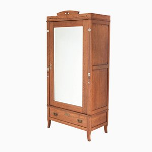 Oak Arts & Crafts Art Nouveau Armoire or Wardrobe with Inlay, 1900s