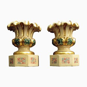 Tuscan Carved Wooden Vases, Set of 2, 1700s
