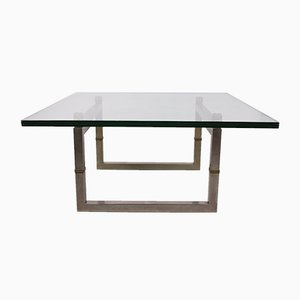 Model Biri T29 Coffee Table with Stainless Steel Frame by Peter Ghyczy, 1986