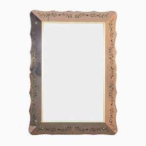 Specchio vintage in vetro rosa di Cristal Art, anni '60