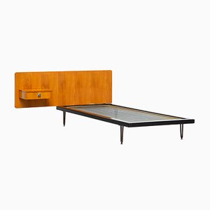 Modernist Single Bed with Wall Panel and Drawer by Alfred Hendrickx for Belform, 1950s