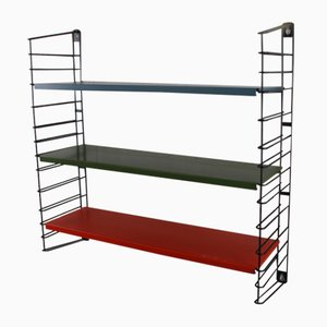 Wall Rack Shelf System or Bookshelf in Red, Green & Blue from Tomado, 1960s