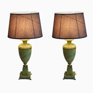 Large Marble Table Lamps, 1960s, Set of 2