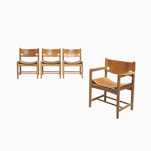 Mid-Century Hunting Dining Chairs by Børge Mogensen for Fredericia Stolefabrik, Set of 4