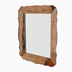 Vintage Mirror With A Rose Gold Glass Border