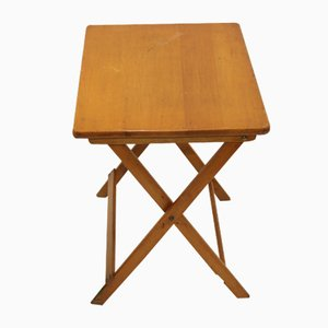 Small Foldable Glass & Teak Side Table, 1950s