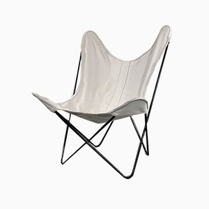 White Butterfly Lounge Chair by Jorge Ferrari-Hardoy for Knoll, 1970s