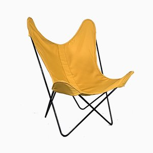 Yellow Butterfly Lounge Chair by Jorge Ferrari-Hardoy for Knoll, 1970s