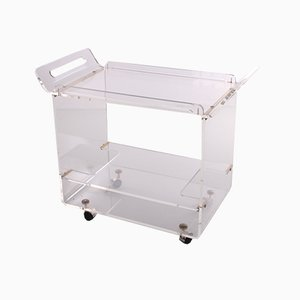 Italian Plexiglas Trolly with Golden Accents