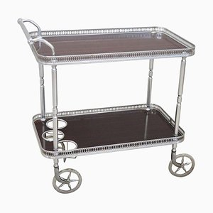 Vintage Chromed Metal and Rosewood Drinks Trolley or Bar Cart, 1930s