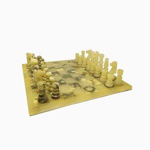 Juego de ajedrez Volterra italiano de alabastro hecho a mano, años 60. Juego de 33