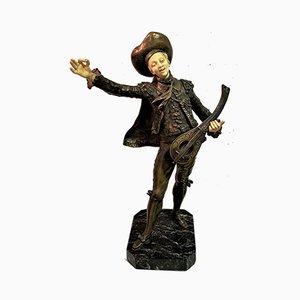 Auguste Moreau, Trovador Sculpture, Patinated Bronze