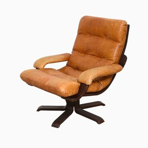 Nordic Cognac Leather Swivel Lounge Chair