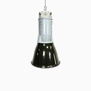 Vintage Industrial Black Enamel Pendant Lamp, 1960s