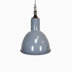 Industrial Vintage Grey Enamel Bauhaus Lamp, 1940s