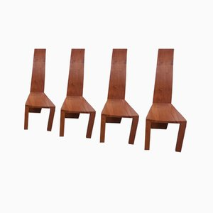 Walnut Dining Chairs, 1960s, Set of 4