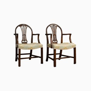 Antique Hepplewhite Revival Armchairs, Set of 2
