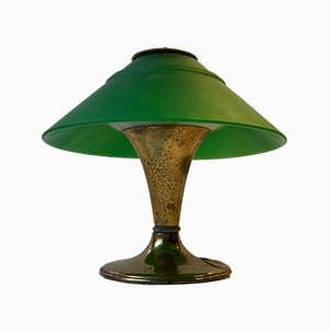 Small Vintage Italian Table Lamp in Brass and Green Glass, 1950s