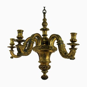 Antique English Gilded Bronze Chandelier, 1830s