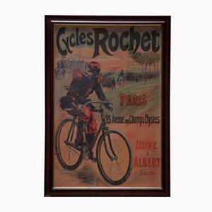 Large Original Framed Linen-Backed Poster for Cycles Rochet by Lucien Lefevre, 1895