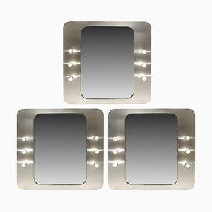 Aluminium Spiegel mit Glühbirnen, 1970er