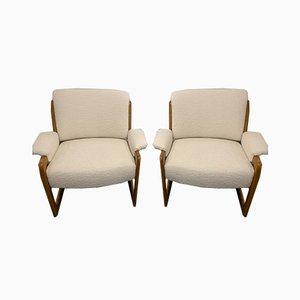 Hölzerne Sessel, 1950er, 2er Set