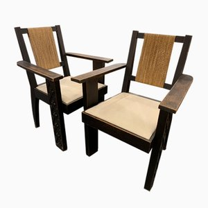 Vintage Lounge Chairs in the style of Francis Jourdain, Set of 2