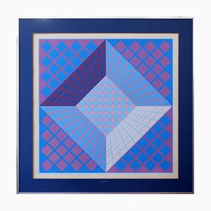 Victor Vasarely, Two Color Screen Prints, Lithography, 1970s