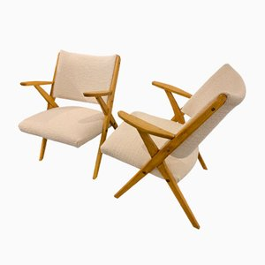 Lounge Chairs with Compass Legs, 1960s, Set of 2
