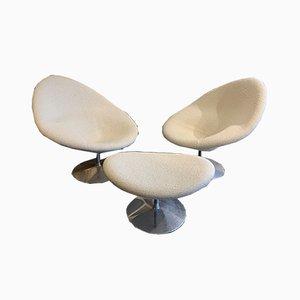 Sessel & Fußhocker von Pierre Paulin, 1960er, 3er Set