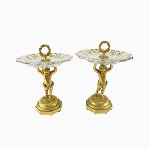Austrian Gold-Bronze and Crystal Alzate, Set of 2, 1800s