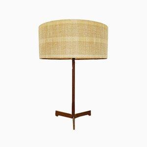 Lámpara de mesa de teca y latón de JT Kalmar, años 50