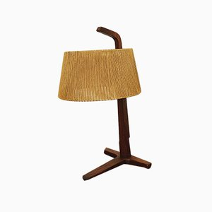 Raffia and Teak Table Lamp from Temde, 1960s