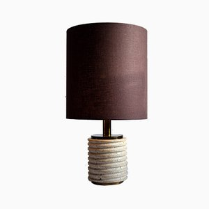 Mid-Century Italian Modern Travertine Brown and Beige Table Lamp