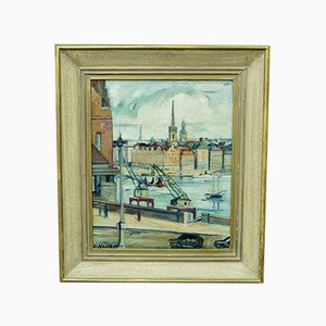 Emil Helbom, Stockholm Cityscape, Oil Painting, 1950s