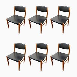 Dänische Mid-Century Teak & Kunstleder Esszimmerstühle von Glostrup, 6er Set