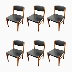 Mid-Century Danish Teak and Synthetic Leather Dining Chairs from Glostrup, Set of 6