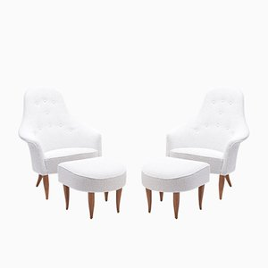 Stora Adam Lounge Chairs & Ottomans by Kerstin Hörlin-Holmquist, 1960s, Set of 4