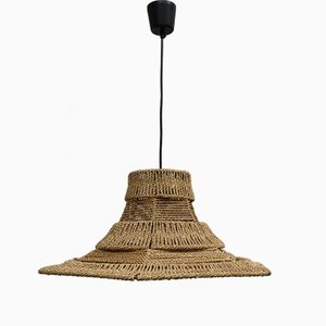 Ceiling Lamp with Sisal Covered Lampshade, 1960s